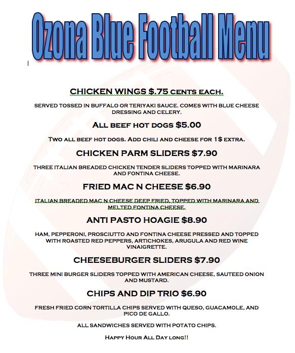 ozona football menu